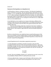 lecture 20 Statement of Hypothesis