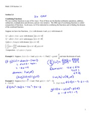 Section 1.4 Notes - Combining Functions