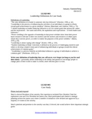 LEAD 001 Leadership Definitions and Case Study Worksheet