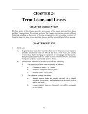 Term Loans and Leases-Teaching Notes