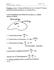 Chapter 3-4 Lectures on Integral Relations for a Control Volume and Differential Relations for Fluid