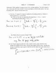Math 107 Recitation Worksheet