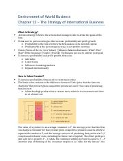 Environment of World Business - Chapter 13