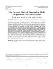 Current State of Accounting Ph.D Programs