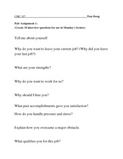 Sample Interview Questions 6