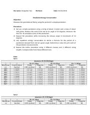 lab report Pendulum Energy Conservation