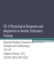 Ch. 6 Physiological Responses and Adaptations to Aerobic Endurance Training (1)