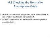 Checking the Normality Assumption