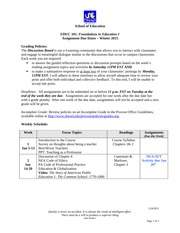 EDUC 101 Assignment Due Dates Winter 2015(1)