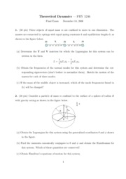 Final Exam Solution on Theoretical Dynamics