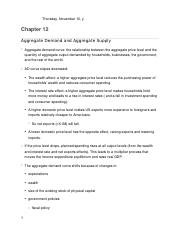 Chapter 12- Aggregate Demand and Aggregate Supply