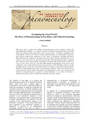 phenomenology and psychology