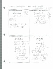 quiz solving quadratic equations