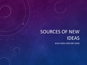 Lecture 2 Sources and Types of New Ideas