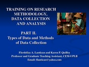 Training on Research Methodology, Data Collection and Analysis (Part II)