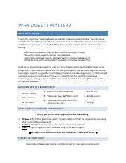 Writing Final - why does it matter