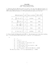 Midterm Exam 1 Solution Spring 2010 on Ordinary Differential Equations