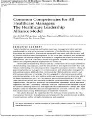 Common Competencies for All Healthcare Managers