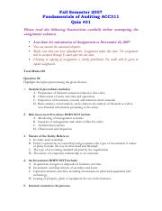 Fundamentals of Auditing - ACC311 Fall 2007 Assignment 03.pdf