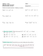 Alg2_2 WKST Operations on Polynomials