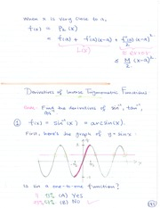 MAT 1341 Derivatives of inverse Trigonometric Functions Notes