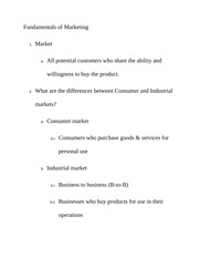 Fundamentals of Marketing Class Notes
