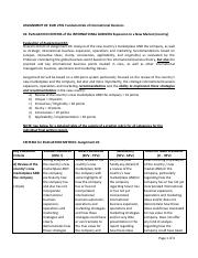 BUSI 2701 F Assignment 2 Sample of a Grading Rubric - EVALUATION CRITERIA