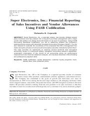 G-Super Electronics, Inc.- Financial Reporting of Sales Incentives and Vendor Allowances Using FASB