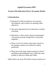Economic Model of Education Notes
