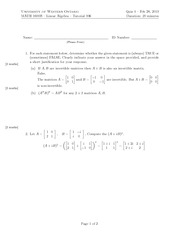 Calculus 1501A Quiz 4
