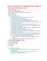 Immuno Course Outline and Learning Objectives