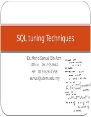 010 W8SQL tuning Techniques