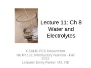 11 Student Lecture Water and Electrolytes