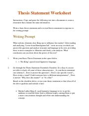 Thesis Statement Worksheet - Instructions: thewritingprompt ...