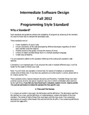 Computer Science 251_Adams_Lecture Notes on Programming Style Standard