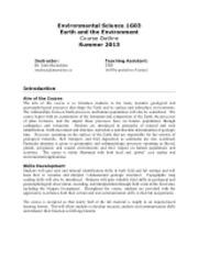 Environmental Science 1G03 Course Outline 2013