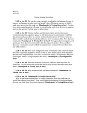 Critical Reading Worksheet #3