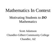 Mathematics In Context1