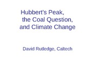 Hubbert's Peak, The Coal Question, and Climate Change