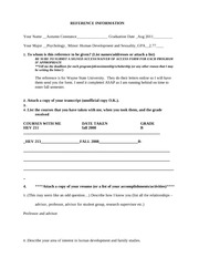 RECOMMENDATION INFORMATION FORM