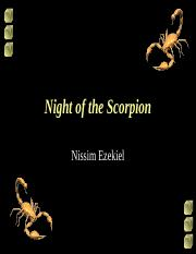 night of the scorpion essay The scorpion crawls into the house one night to evade the heavy rain outside and hides nissim ezekiel night of the scorpion nissim ezekiel night of the scorpion analysis nissim ezekiel night of the scorpion essay nissim ezekiel night of the scorpion summary nissim ezekiel night of the.