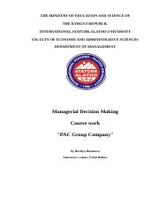 PAC Group Company- Managerial Ddecision making