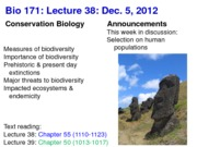 Biology 171 Lecture 38
