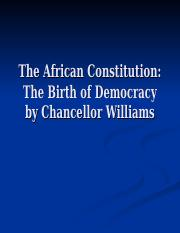 The African Constitution--Birth of Democracy