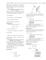 Homework #8 - Conservation of energy and linear momentum-solutions