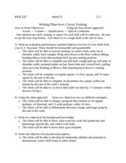 Writing Objectives- Circuit Training Week 9