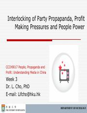 CCCH9017 Week 3 Interlocking Propaganda Profit People Outline
