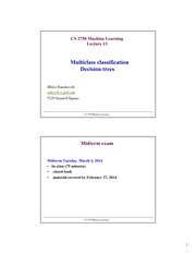 Lecture Notes on Multiclass classification Decision Trees