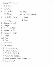 Worksheet 6 Solutions
