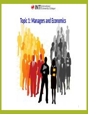 Topic 1- Managers and Economics